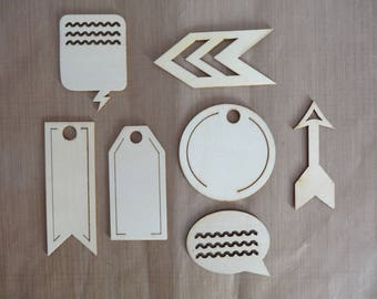 7 embellishments for scrapbooking or cardmaking wooden