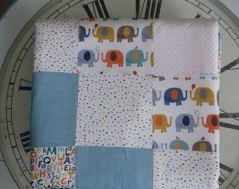 Elephant ABC handmade patchwork blanket