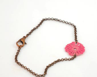 Bronze copper - rose Pink crochet chain bracelet