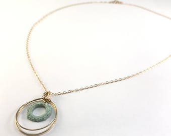 Necklace - Gold gold filled - wire Gold filled ring aqua circle - home made