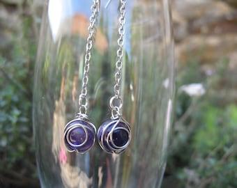 Earrings chains amethysts