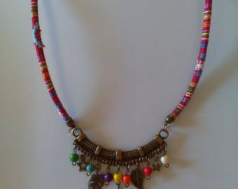 Ethnic necklace multicolor beads