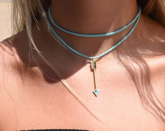 turquoise drop arrow necklace