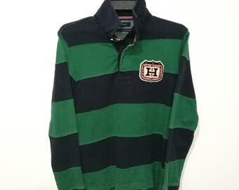 RARE!! Vintage Tommy Hilfiger New York League Stripes THNY Long Sleeve Polos