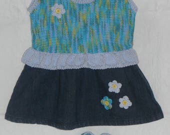 Set skirt strapless jeans, tank top and booties shoes / size 3 months