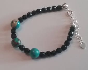 Bracelet stone Jasper aqua terra and glass beads