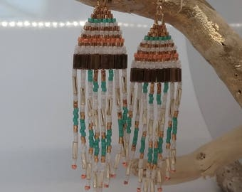 Boho earrings handmade hand tila beads seed beads miyuki or24 kt plated tubes