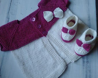 vest and booties crocheted manually