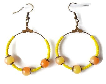 Bronze Pearl Earrings yellow and orange and yellow seed beads