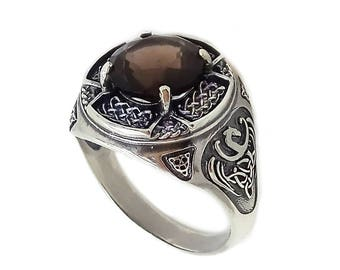Big Natural Smoky Quartz Unisex Ring Sterling Silver 925 SKUkm1316