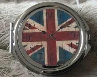 Union Jack Flag glass cabochon silver round Pocket mirror