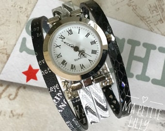 Ladies watch SIZE. S round silver color gray ethnic straps and black fantasy