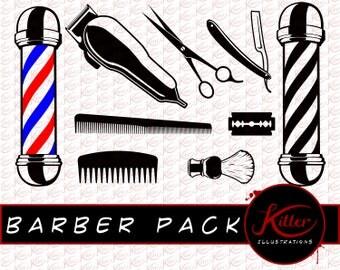 Barber Shop Vector - 9 Pack | Beard Clip Art | Cut File| Instant Digital Download | Svg | Png | Pdf | Jpg | Eps | Dxf |