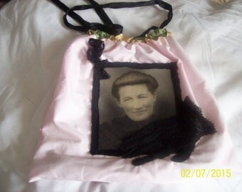 """Retro"" cotton handbag pink powder. (I, too serious?)"