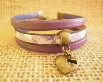 Leather Bracelet, violet and purple, heart charm, size 17.5 cm