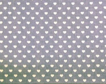 White hearts on the bottom gray or red printed cotton fabric, price is for 50 cm