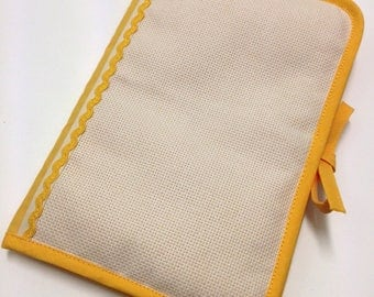 Health booklet has cross stitch Embroidery golden yellow fabric, aida canvas with choice of 2 sides