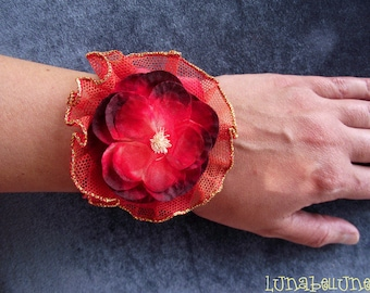 Fabric Cuff Bracelet, jewelry red fabric and Burgundy with large flower fabric and tulle
