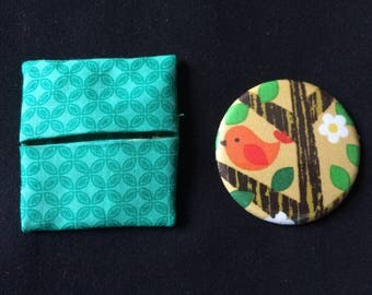 "Pocket mirror printed ""bird on branch"" and matching wallet"