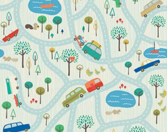 Scenic Route in Blue by Deena Rutter for Riley Blake Designs, 100% Cotton Fabric. Quarter Yard, Half Yard, By the Yard