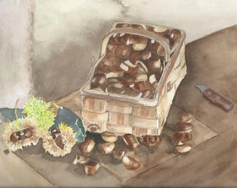 Autumn delights: basket of chestnuts. Watercolor in dominant shades of Brown