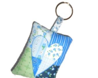 Blue heart fabric key chain
