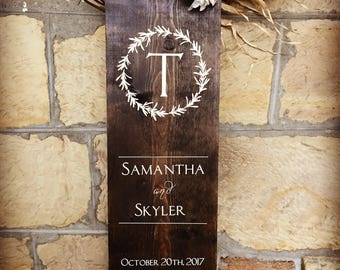 custom wedding sign, hand painted, stained