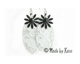 Earrings black & white Lolita Vintage romantic