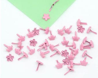 Set of 20 brads / paper fasteners - pink flowers (7mm)