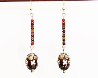 Handcrafted Burgundy Paisley ethnic bead earrings