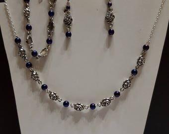 Set necklace earrings and bracelet Hematite purple rose bouquet