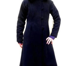 Long black wool coat lined with large hood timeless