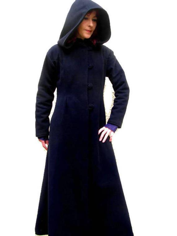 manteau long pure laine noir doubl avec grande capuche. Black Bedroom Furniture Sets. Home Design Ideas