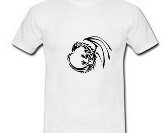 Men's white cotton T-shirt, dragon