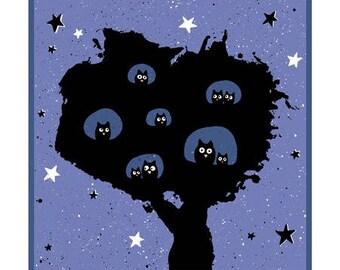 Illustration, poetry, night, owls, tree, starry sky, child's room decor
