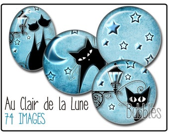 Cats and Moon Printable Images Digital Collage Sheet for Jewelry Making - Cats Digital collage sheets