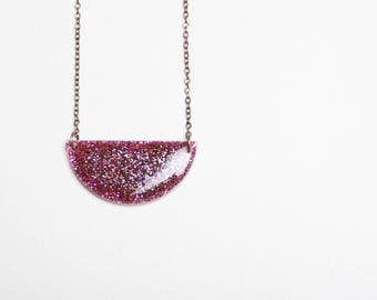 Raspberry coloured glitter resin necklace LUNA