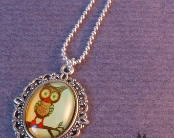 Necklace - peekaboo OWL! -medallion and cabochon