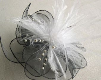Small grey organza flower barrette, feathers and beads
