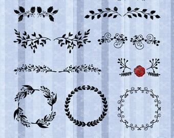 Flourish SVG, PNG, DXF, Eps Cutting Files, Frame Svg, flower monogram svg, border svg, decorative lines svg, divider doodle Svg, swirl svg