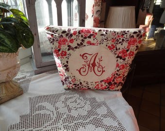 """Large toiletry bag with A """"machine embroidered and placed Medallion Monogram"""