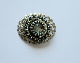 Cabochon and bead embroidery brooch