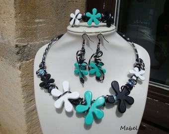 Set of wedding, necklace, bracelet and earrings, turquoise, black and white flower, black diamond aluminum wire