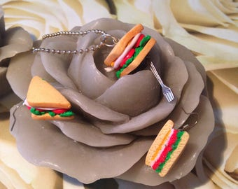"Jewelery set polymer clay ""sandwich"" necklace + earrings"
