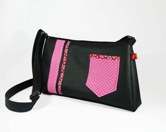 Shoulder bag / Hobo black and pink