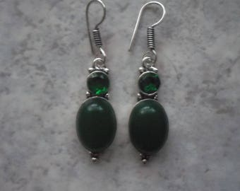 Sterling Silver 925 green quartz and chalcedony earrings