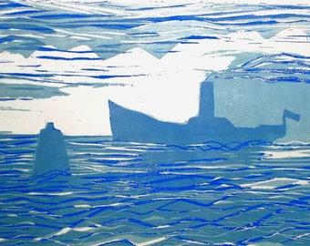 Engraving 2 plates wooden blue liner