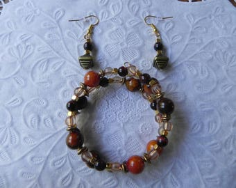 Yellow azurite chrysocolla and tiger eye coil bracelet with earrings