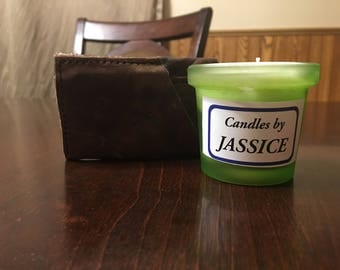 Green leather votive