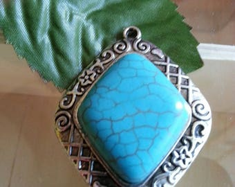 synthetic turquoise pendants, skyblue, 45 x 36 x 17 mm, hole: 2 mm